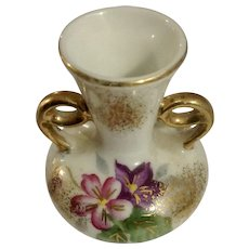 Miniature Porcelain Vase Double Handle Hand Painted Pink and Purple Flowers Japan Circa 1930's Dollhouse Diorama