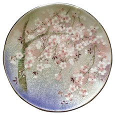 Ginbari Silver Foil Enamel Plate Cherry Blossoms Signed by Artist Japan