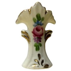 Wesley China Miniature Porcelain Vase With Flared Top and Hand Painted Rose and Gold Accents Circa 1920's Dollhouse Diorama