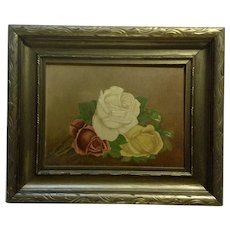19th Century Victorian Beautiful Roses Oil Painting on Board