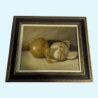 Shepherd, Still life Oranges Oil Painting on Board Signed on Back by Artist