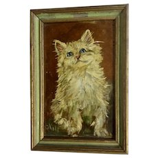 F. Kohl, Antique Kitty Cat Oil Painting on Copper Signed By Artist