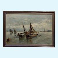 European Fishermen Offshore Fishing Nautical Seascape Oil Painting