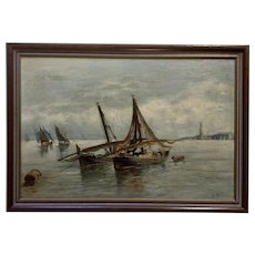 European Fishermen Offshore Fishing Nautical Seascape Oil Painting on Board Initialed