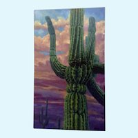 Michael H. Cranford, Gorgeous Cactus in the Sunset Oil Painting