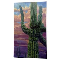 Michael H. Cranford, Gorgeous Cactus in the Sunset Oil Painting Signed By Listed Artist