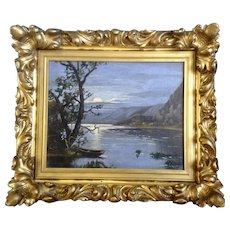 Moon Lit Lake and Coastline Nocturnal Landscape 19th Century Oil Painting on Canvas