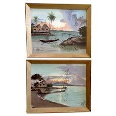R. L. Datu Island Coastal Fishing Village Landscape Oil Paintings Signed by Listed Artist