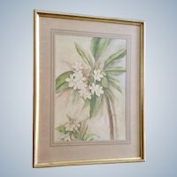 Plumeria Flowers Still Life Watercolor Painting 1939 Monogrammed by Artist EM CR.