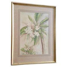 Plumeria Flowers Still Life Watercolor Painting 1939 Monogrammed by Artist EM CR.
