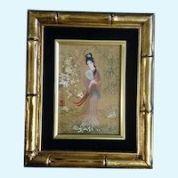 Geisha Girl in Floral Landscape Watercolor Casein Painting on Cork Paper
