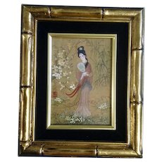 Geisha Girl in Floral Landscape Watercolor Casein Painting on Cork Paper Monogrammed