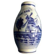Vintage Delft Blue Hand Painted Windmill Dutch Miniature Vase for Large Dollhouse Porcelain Holland