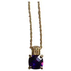 """Beautiful Sparkling Faux Dark Amethyst Crystal Pendant Gold-Tone Necklace Costume Jewelry 18"""""""