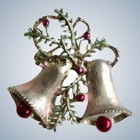 Pink Christmas Bells Brooch Pin 1-5/8""