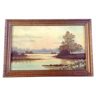 Bess White, Pond With Low Flying Ducks, Oil Painting on Canvas Board, Signed by Artist