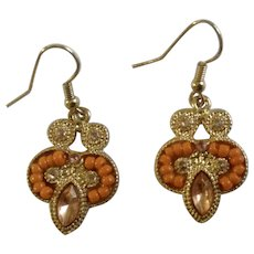 "Orange Beads, Pink and White Rhinestone on Gold-Tone Fishhook Earrings For Pierced Ears Costume Jewelry 1"""