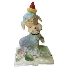 Rare Norcrest Anthropomorphic Poodle January Birthday Dog Mid-Century Ceramic Figurine Made in Japan