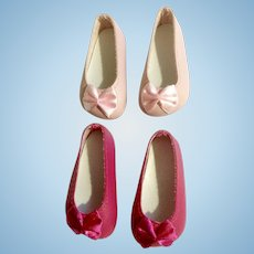 Doll Shoes 58 mm Slip on Flats with Bow Dark & Light Pink 1990's Never Used Group