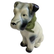 Wrisley Collectible HTF Vintage Terrier Dog Shaped Bath Salts Original Bow Container 1930's Ceramic Figurine