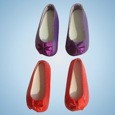 Doll Shoes 58 mm Slip on Flats with Bow Dark Purple & Red 1990's Never Used