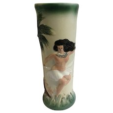 Nude Hula Dancer Hawaiian Porcelain Glass / Vase Sail with Harvey's Mid-Century