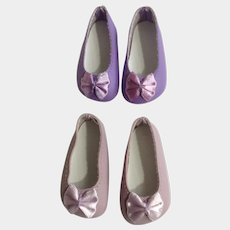 Doll Shoes 58 mm Slip on Flats with Bow Lavender & Lilac 1990's Never Used