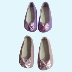 Doll Shoes 58 mm Slip on Flats with Bow Lavender & Lilac