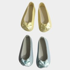 Doll Shoes 58 mm Slip on Flats with Bow Banana Cream Yellow Aquamarine Blue 1990's Never Used