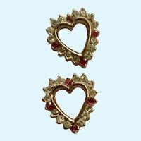 Gold-tone  Faux Ruby Red & Rhinestone Diamond Heart Pierced Earrings