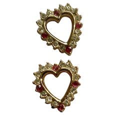 Gold-tone  Faux Ruby Red & Rhinestone Diamond Heart Pierced Earrings