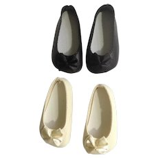 Doll Shoes 58 mm Slip on Flats with Bow Ecru & Black 1990's Never Used