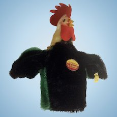 Steiff Rooster Chicken Mohair Hand Puppet Button Flag 6721,18 Breast Tag 1969-74