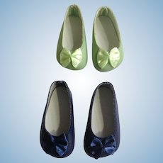Doll Shoes 58 mm Slip on Flats with Bow Cobalt Blue & Mint Green 1990's Never Used