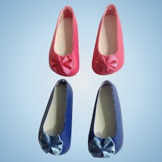 Doll Shoes 58 mm Slip on Flats with Bow Navy Blue & Hot Pink 1990's Never Used