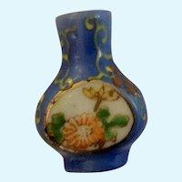 Occupied Japan Miniature Vase Blue Floral Hand Painted Porcelain
