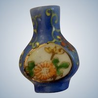 Miniature Porcelain Blue Floral Vase Hand Painted Occupied Japan For Dollhouse Diorama