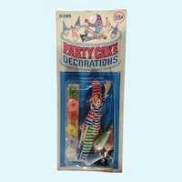 Party Cake Toppers Cupcake Picks Decorations Circus Clowns New in Package 1970