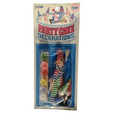 Party Cake Toppers Decorations Circus Clowns New in Package 1970