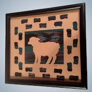 Sheryl Lee Lamb Silhouette Folk Art Mixed Media Quilt and Paper