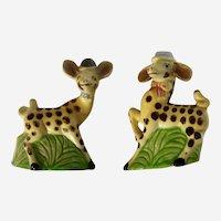 Anthropomorphic Giraffes Wearing Hats Salt and Pepper Shakers Ceramic S&P Animal Figurines Japan