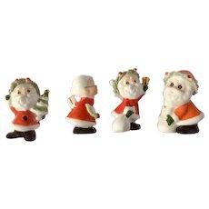Vintage Napco Ware Mr & Mrs Santa Claus Bone China Figurines With Spaghetti Hats