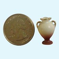 "Dollhouse Miniature Vase Hand Painted Gold Handles Japan  3/4"" Tall"