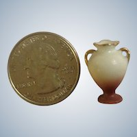 "Vintage Miniature Vase Hand Painted Dark Reddish Brown & White, Gold Handles Japan Great for Dollhouse Diorama 3/4"" Tall"