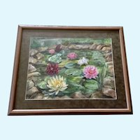 Rose Marie (R. M.) Daniels, Lilies at the Lily Pond, Watercolor Painting