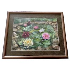 Rose Marie (R. M.) Daniels, Pink, White and Purple Lilies at the Lily Pond, Watercolor Painting Signed by Listed Colorado Artist