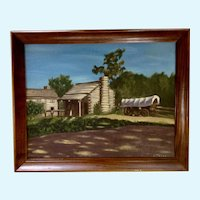 Stella, Old Chuckwagon Prairie Schooner Covered Wagon Oil Painting
