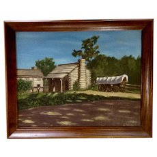 Stella, Old Chuckwagon Prairie Schooner Covered Wagon Parked Next To Log House, Oil Painting Signed by Artist