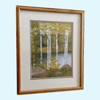 Marvialean Wilson, Aspen Trees on the Lake, Watercolor Painting