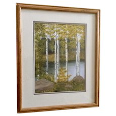 Marvialean Wilson, Aspen Trees on the Lake, Original Watercolor Painting Signed by Artist